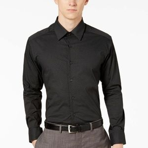 Alfani Black Print Dress Shirt 32/33 NWT